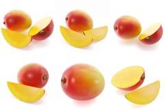 3d rendering mango set. Mango whole and pieces, sweet fruit, realistic illustration isolated on white. Stock Images