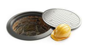 3d rendering, Manhole in-service. construction helmet isolated on white background. 3D illustration Royalty Free Stock Image