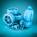 3D rendering many auto parts Royalty Free Stock Photo