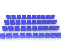 3D Rendering of many blue home icons