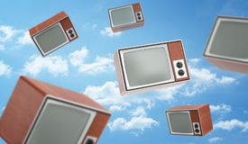 3d rendering of a many brown retro TV boxes with blank screens fly on blue cloudy sky background. Entertainment and leisure. Ads and commercials. Obsolete Royalty Free Stock Image