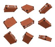 3d rendering of many brown vintage suitcases in closed state hanging on white background in different angles. Traveling baggage. Business case. Travel in style Stock Images