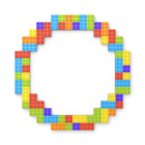 3d rendering of many building blocks in different colors making up one hollow round shape in top view. Building sets. Toys and games. Leisure and recreation Royalty Free Stock Photography