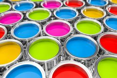 3d rendering of many color buckets with bright colors. 3d rendering of many paint buckets with bright colors on white ground vector illustration