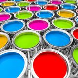 3d rendering of many color buckets with bright colors. 3d rendering of many paint buckets with bright colors on white ground stock illustration