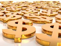 3D Golden USD currency symbols. 3D rendering of many golden USD currency symbols lying flat on white surface Stock Photos