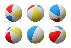 3d rendering of many identical inflated beach balls with white, red, yellow and blue stripes. Set of game equipment. Sea resorts. Sea shore fun Stock Photography