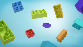 3d rendering of a many multicolored rectangle toy blocks building blocks falling from above on blue background. Royalty Free Stock Image