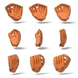 3d rendering of many orange leather baseball gloves in different angles of view on a white background. Baseball gear. Hand protection. Sports equipment Stock Images
