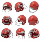 3d rendering of many red American football helmets flying in several positions on a white background.