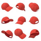 3d rendering of many red baseball caps hanging on a white background in different angles.