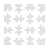 3d rendering of many white puzzle pieces isolated on white background. Games and toys. Thinking and guesswork. Problems and solutions Royalty Free Stock Photo