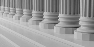 3d rendering marble pillars with steps Stock Photo