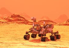 3D Rendering Mars Rover. 3D rendering of a Mars rover space vehicle on a red planet landscape background Stock Photos