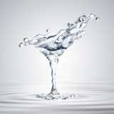 3D rendering of the martini glass with water drops Royalty Free Stock Images