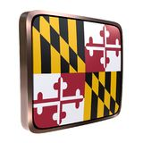 Maryland flag icon. 3d rendering of a Maryland State flag icon with a bright frame. Isolated on white background Royalty Free Stock Photography