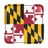 Maryland flag icon. 3d rendering of a Maryland State flag icon. Isolated on white background Stock Image