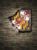 Old Maryland flag in brick wall. 3d rendering of a Maryland State flag over a rusty metallic plate embedded on an old brick wall Royalty Free Stock Photo