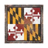 Old Maryland flag. 3d rendering of a Maryland State flag over a rusty metallic plate wit a rusty frame. Isolated on white background Stock Image