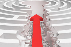 3d rendering of a maze with a red arrow borrowing to the center in closeup view. Mazes and labyrinths. Problems and solutions. Unexpected approach and risk Stock Photography