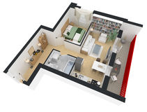 3d rendering meblujący domowy mieszkanie Fotografia Stock