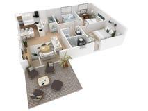 3d rendering meblujący domowy mieszkanie Obrazy Royalty Free