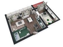 3d rendering meblujący domowy mieszkanie Zdjęcie Stock