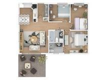 3d rendering meblujący domowy mieszkanie Obraz Royalty Free