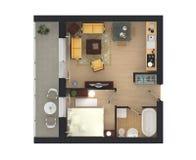 3d rendering meblujący domowy mieszkanie Fotografia Royalty Free