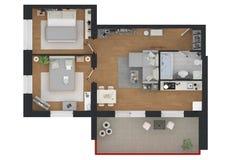 3d rendering meblujący domowy mieszkanie Zdjęcia Royalty Free
