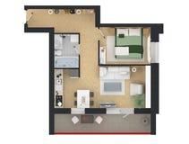 3d rendering meblujący domowy mieszkanie Zdjęcie Royalty Free