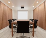 3D rendering meeting room with chairs , wooden table ,mock up , copy space royalty free stock image