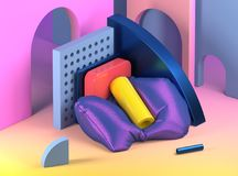 3d render illustration. Abstract composition with geometric shapes. Abstract interior space in memphis style. vector illustration