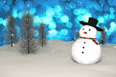 3D Rendering :  merry christmas snow man doll on perspective snowscape sparkling bokeh wall light and christmas tree in background Royalty Free Stock Photography