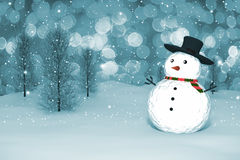 3D Rendering :  merry christmas snow man doll on perspective snowscape sparkling bokeh wall light and christmas tree in background Royalty Free Stock Images
