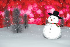 3D Rendering :  merry christmas snow man doll on perspective snowscape sparkling bokeh wall light and christmas tree in background Stock Image