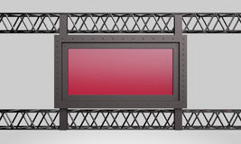 3d rendering metal construction red sign Royalty Free Stock Photo