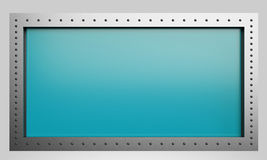 3d rendering metal construction turquoise sign Stock Photos