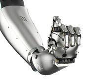 Cyborg hand isolated. 3d rendering metal cyborg arm isolated on white Stock Photography