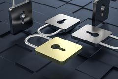 3d rendering, metal lock with digital concept background stock illustration