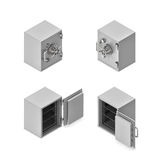 3d rendering of a metal safe box in open and closed state in double-sided isometric view. Stock Photo