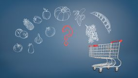 3d rendering of metal shopping cart stands on a blue background with chalk drawings of vegetables and fruits and a red. Question sign. Healthy food. Supermarket Stock Image
