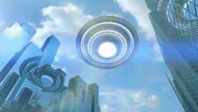 Ufo or alien spaceship in city