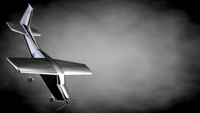 3d rendering of a metalic reflective airplane on a dark backgrou. Nd Royalty Free Stock Image