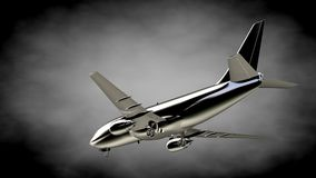 3d rendering of a metalic reflective airplane on a dark backgrou. Nd Stock Images