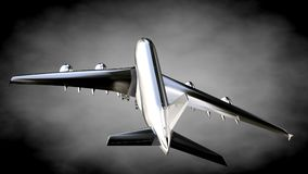 3d rendering of a metalic reflective airplane on a dark backgrou. Nd Royalty Free Stock Photos