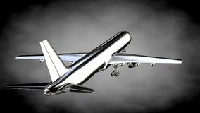 3d rendering of a metalic reflective airplane on a dark backgrou Royalty Free Stock Images