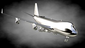 3d rendering of a metalic reflective airplane on a dark backgrou Royalty Free Stock Photo