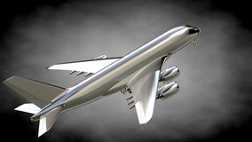 3d rendering of a metalic reflective airplane on a dark backgrou. Nd Stock Image