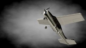3d rendering of a metalic reflective airplane on a dark backgrou Royalty Free Stock Image